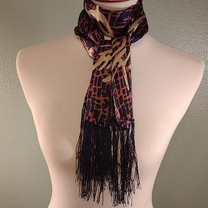 Accessories - Silk scarf navy, copper, gold with navy fringe